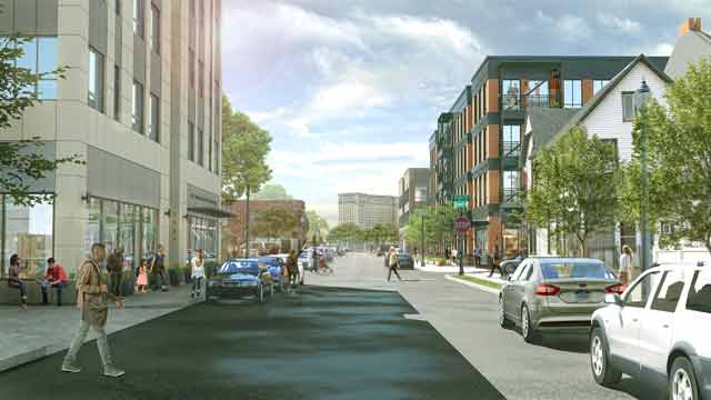 Rendering of a view west on Elizabeth street