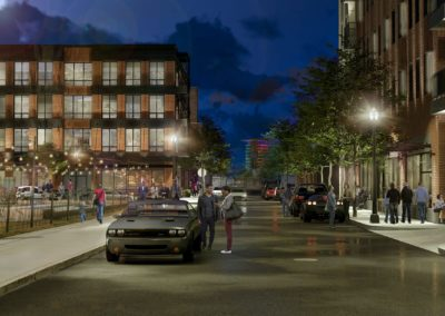 Rendering of a view north on 8th Street at night